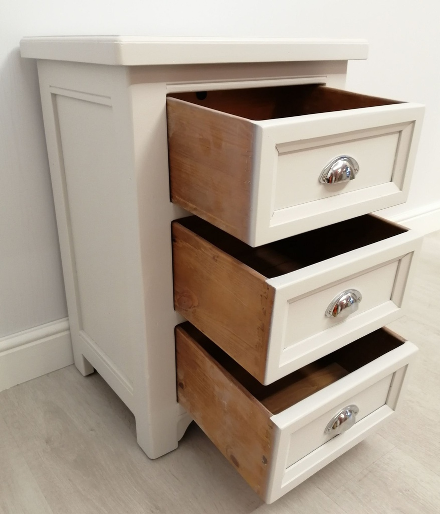 Ammonite' Large Solid Wood Three Drawer Bedside Chest
