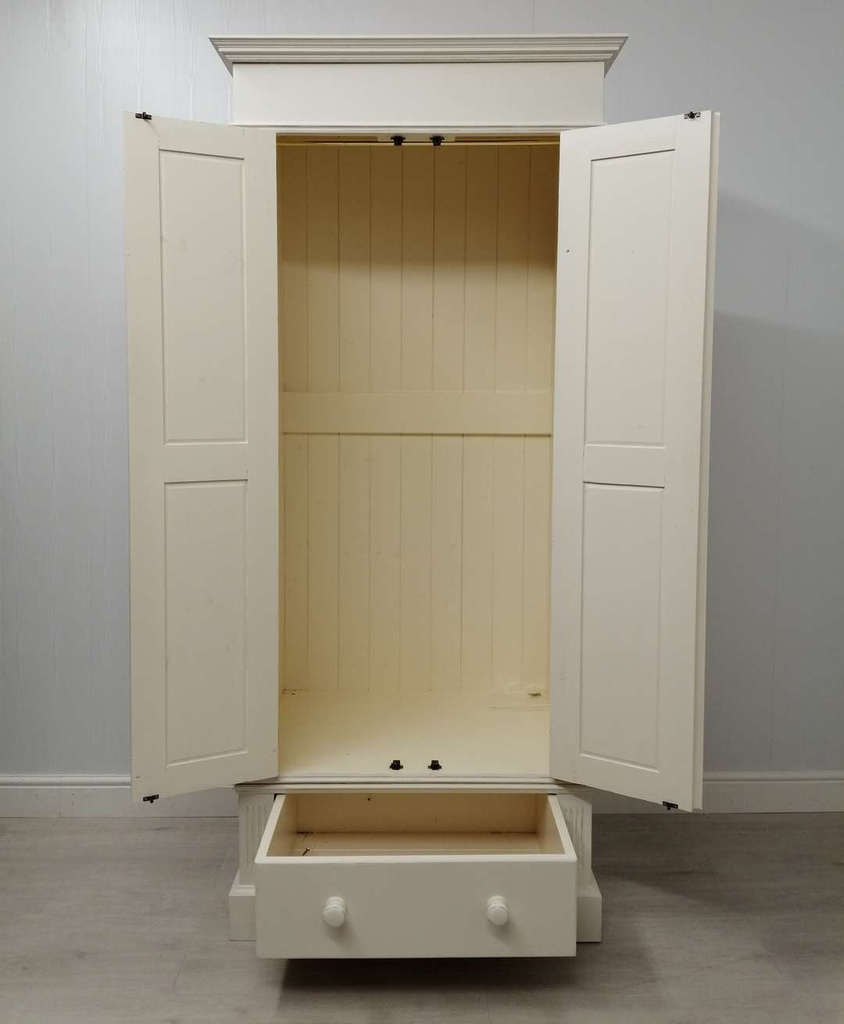'Antique White' Pine Double Wardrobe with Drawer