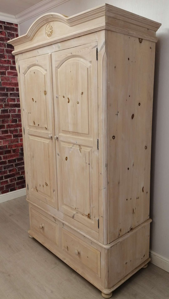 Pine White Washed Double Wardrobe