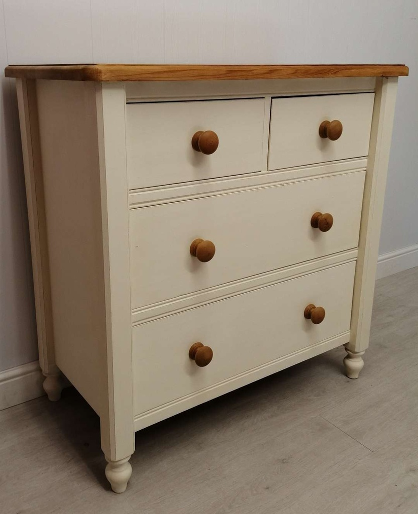 'Clotted Cream' Pine FOur Drawer Chest