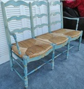 Blue French Chateau Distressed Style Bench