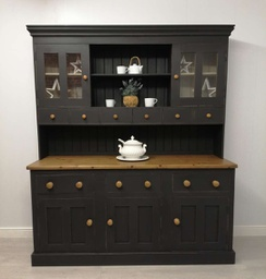 [HF5591] 'Natural Charcoal' Large Solid Pine Part Glazed Dresser
